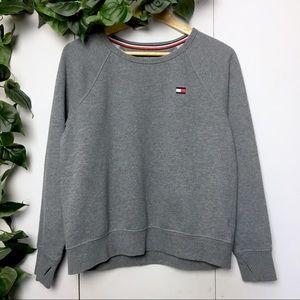 TOMMY HILFIGER Gray Crew Neck Logo Sweater